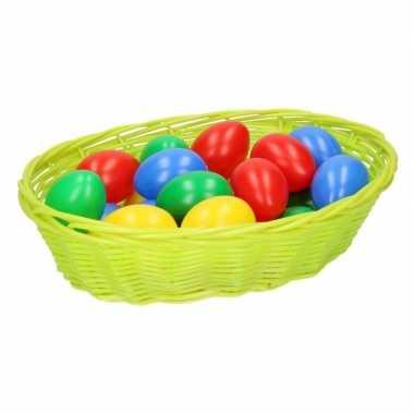 Lime mandje met gekleurde eieren 20 cm