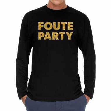 Feestwinkel | long sleeve t-shirt zwart met foute party goud glitter