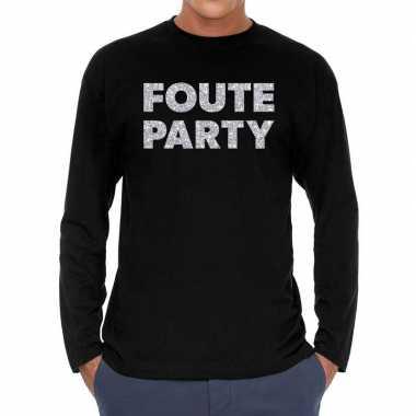 Feestwinkel | long sleeve t-shirt zwart met foute party zilver glitte