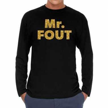 Feestwinkel | long sleeve t-shirt zwart met mr. fout goud glitter bed