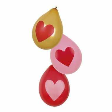 Love ballonnen rood roze goud 6 stuks