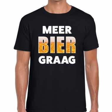 Feestwinkel | meer bier graag fun t-shirt zwart voor heren morgen ams