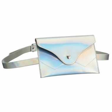Feestwinkel | metallic wit mini heuptasje aan riem voor dames morgen