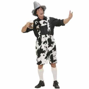 Feestwinkel |  Oktoberfest lederhose met koeienprint morgen Amsterdam