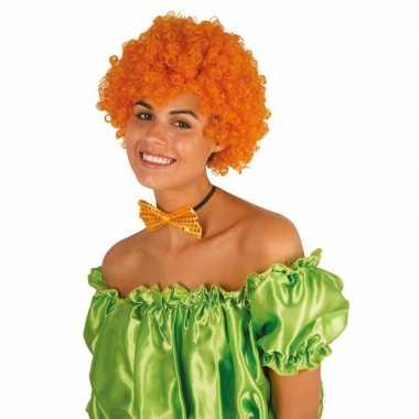 Feestwinkel | oranje krullen clownspruik verkleed accessoire morgen a