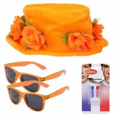 Feestwinkel   oranje supporters verkleed set voor 2 personen morgen amsterdam