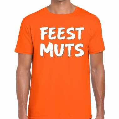 Oranje t-shirt feestmutsvoor heren