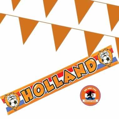 Feestwinkel   oranje versiering buiten pakket 1x holland banner 370x60 + 200 meter vlaggetjes morgen amsterdam