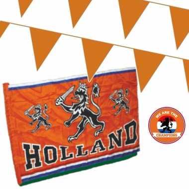 Feestwinkel | oranje versiering buiten pakket 1x mega holland spandoek/ vlag + 200 meter vlaggetjes morgen amsterdam