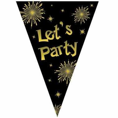 Feestwinkel | oud en nieuw vlaggenlijn let's party zwart / goud 5 met