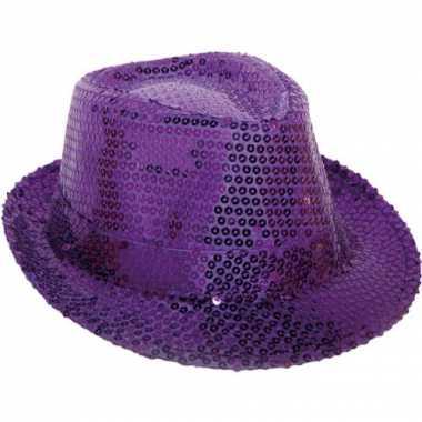 Paars hoedje met pailletten