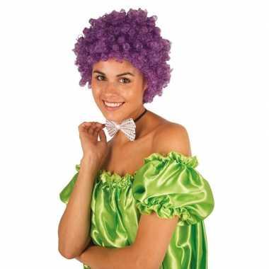 Feestwinkel | paarse krullen clownspruik verkleed accessoire morgen a