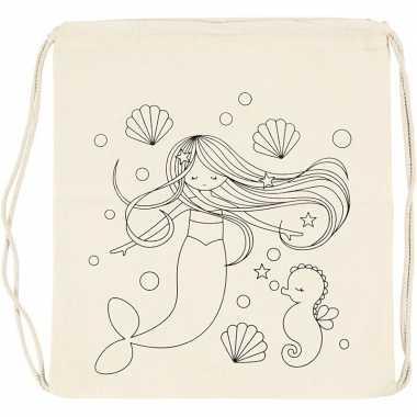 Feestwinkel   pakket van 6x stuks inkleurbare gymtasjes zeemeerminnen 41 cm morgen amsterdam