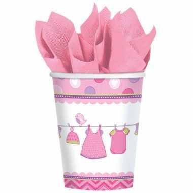 Papieren bekers geboorte meisje 8 stuks