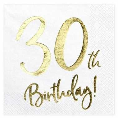 Feestwinkel | papieren servetjes wit 30 jaar 60 stuks morgen amsterda