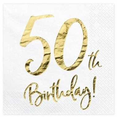 Feestwinkel | papieren servetjes wit 50 jaar 20 stuks morgen amsterda