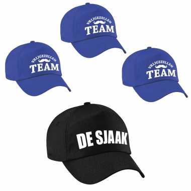 Feestwinkel | petjes vrijgezellenfeest mannen - 1x de sjaak zwart + 9x vrijgezellen team blauw morgen amsterdam