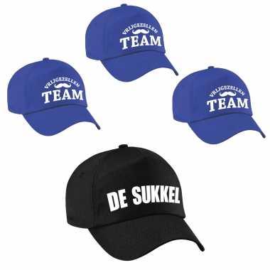 Feestwinkel | petjes vrijgezellenfeest mannen - 1x de sukkel zwart + 7x vrijgezellen team blauw morgen amsterdam