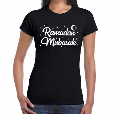 Feestwinkel | ramadan shirt ramadan mubarak zwart voor dames morgen a