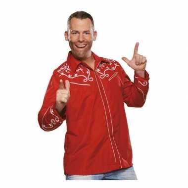 Rode cowboy blouse voor heren