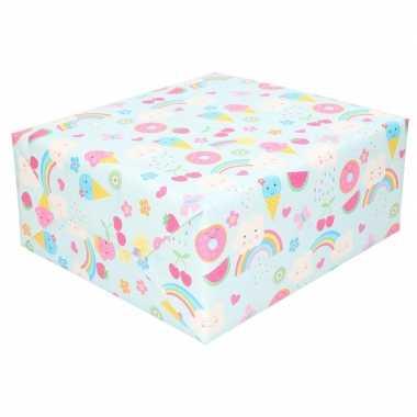 Feestwinkel | rol kinderverjaardag inpakpapier met ijsjes print 200 x