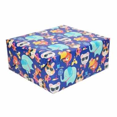 Feestwinkel | rol kinderverjaardag inpakpapier met olifanten print 20