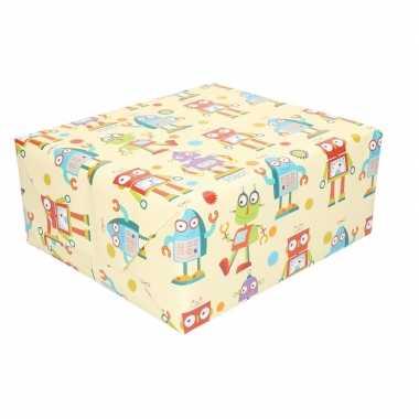 Feestwinkel | rol kinderverjaardag inpakpapier met robots 200 x 70 cm