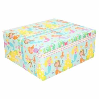 Feestwinkel | rol kinderverjaardag inpakpapier met zeemeerminnen 200