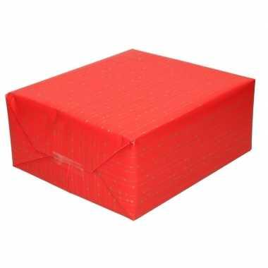 Feestwinkel | rood cadeaupapier met gouden lijnen 70 x 200 cm morgen