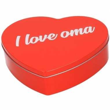 Feestwinkel | rood i love oma hart bewaarblik/opbergblik 18 cm morgen