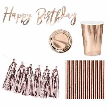 Feestwinkel | rose gouden feestje versiering pakket 6 pers morgen ams