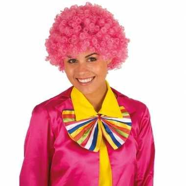 Feestwinkel | roze krullen clownspruik verkleed accessoire morgen ams