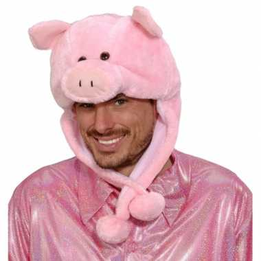Roze varkens muts voor volwassenen