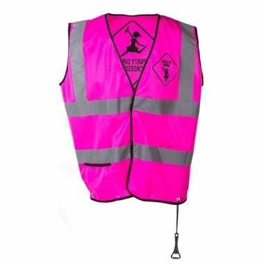 Feestwinkel | roze veiligheidsvest party girls voor dames morgen amst
