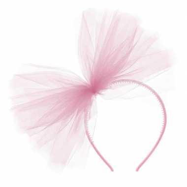 Feestwinkel | roze verkleed haarband met tule strik voor dames morgen
