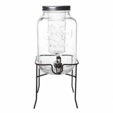 Sap dranken dispenser met infuser op voet glas 4 liter