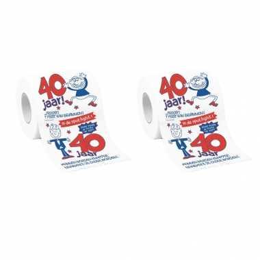 Feestwinkel | set van 2x stuks mannen wc papier 40 jaar verjaardag cadeau/versiering morgen amsterdam