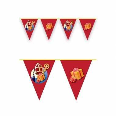 Feestwinkel | sinterklaas decoratie vlaggen slinger rood 6 meter morg