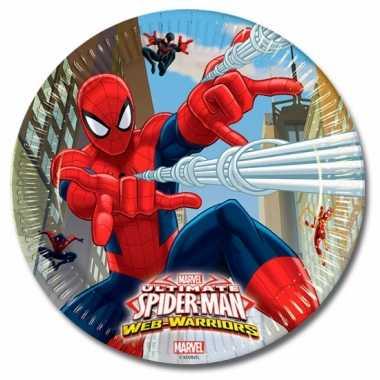Spiderman kinderfeest bordjes 16 stuks