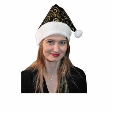 Feestwinkel    Stijlvolle kerstmuts zwart met goud morgen Amsterdam