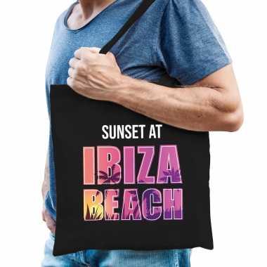Feestwinkel   sunset at ibiza beach tasje zwart voor heren morgen amsterdam