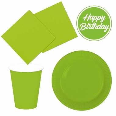Feestwinkel | tafel dekken feestartikelen kleur lichtgroen 32x bordjes/32x drink bekers/40x servetten morgen amsterdam