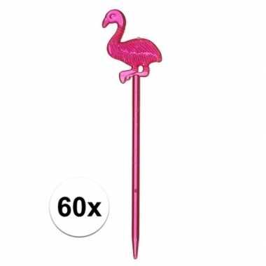 Feestwinkel | tropische versiering flamingo prikkers 60x 8 cm morgen