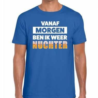 Feestwinkel | vanaf morgen ben ik weer nuchter fun t-shirt blauw voor