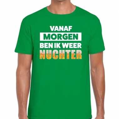 Feestwinkel | vanaf morgen ben ik weer nuchter fun t-shirt groen voor