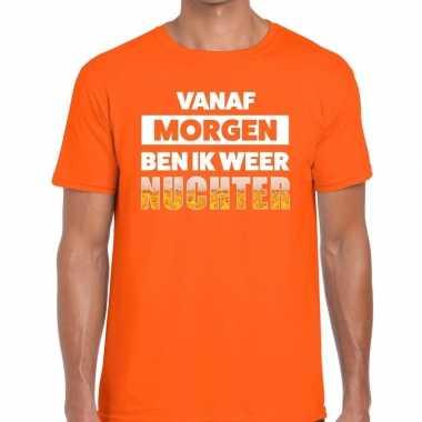 Feestwinkel | vanaf morgen ben ik weer nuchter fun t-shirt oranje voo