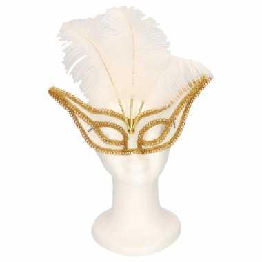 Feestwinkel | venetiaanse oogmaskers wit/goud voor volwassenen morgen