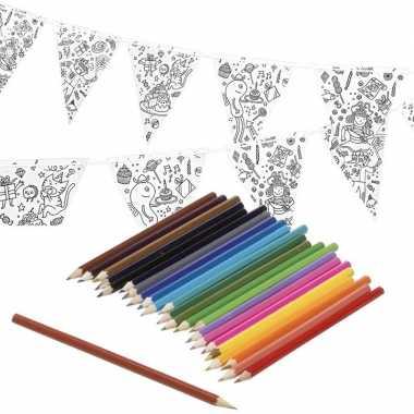 Feestwinkel | verjaardag slinger/vlaggenlijn om in te kleuren met pot