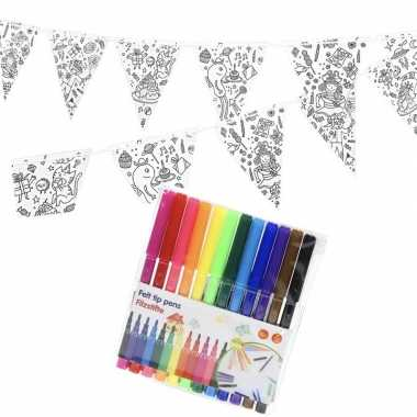 Feestwinkel | verjaardag slinger/vlaggenlijn om in te kleuren met sti