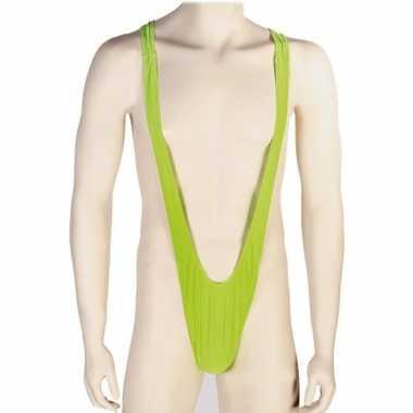 Feestwinkel | verkleedkleding groene mankini voor heren morgen amster